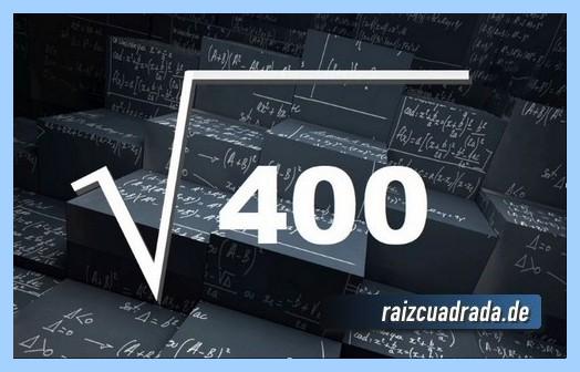 Forma de representar frecuentemente la operación matemática raíz del número 400