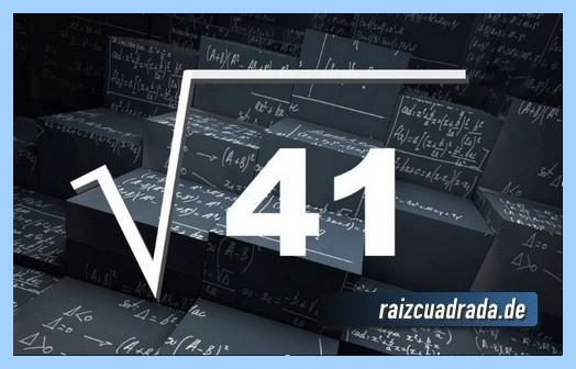 Representación frecuentemente la operación matemática raíz cuadrada de 41