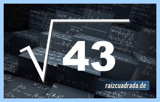 Como se representa comúnmente la operación raíz cuadrada del número 43