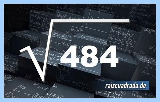 Forma de representar habitualmente la operación matemática raíz de 484