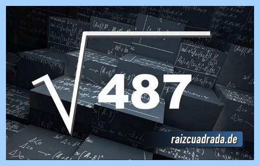 Forma de representar habitualmente la raíz de 487