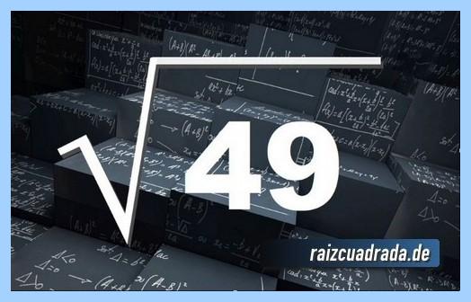 Forma de representar habitualmente la operación matemática raíz de 49
