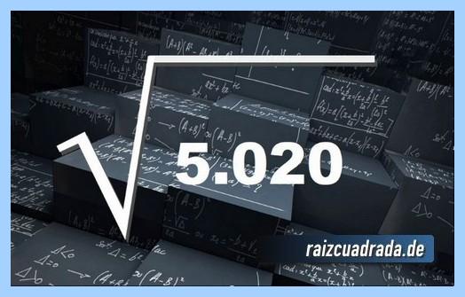 Forma de representar habitualmente la raíz cuadrada del número 5020