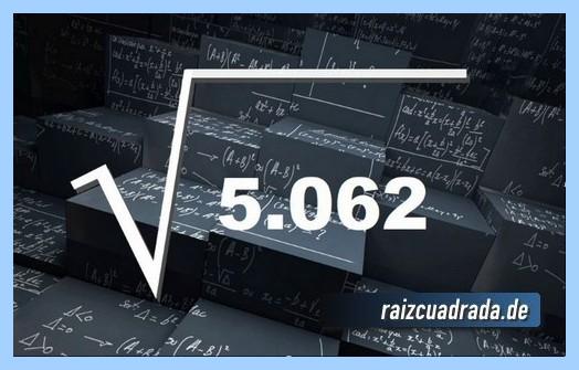 Representación conmúnmente la operación raíz cuadrada del número 5062