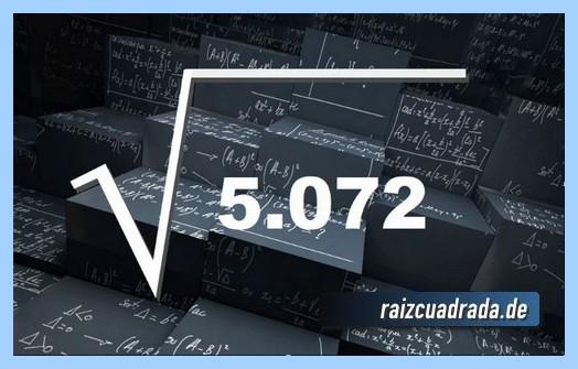 Representación conmúnmente la raíz cuadrada del número 5072