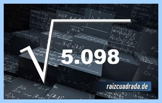 Representación matemáticamente la operación matemática raíz del número 5098