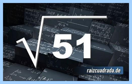 Forma de representar habitualmente la operación matemática raíz cuadrada del número 51