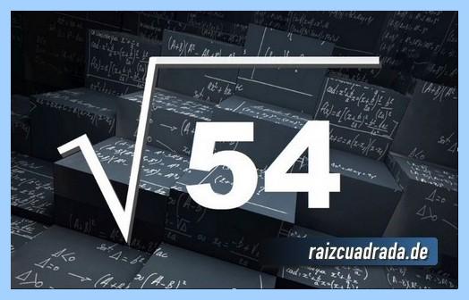 Forma de representar comúnmente la raíz cuadrada de 54