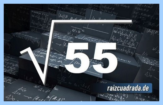 Forma de representar matemáticamente la raíz cuadrada del número 55