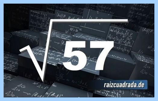 Como se representa frecuentemente la operación matemática raíz cuadrada de 57