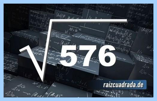 Como se representa frecuentemente la operación raíz de 576