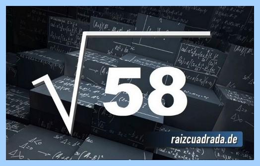 Como se representa frecuentemente la operación matemática raíz cuadrada del número 58