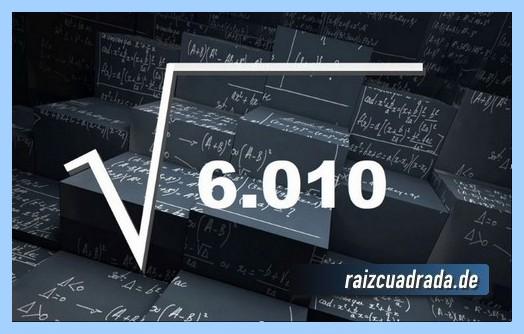 Como se representa matemáticamente la operación matemática raíz del número 6010