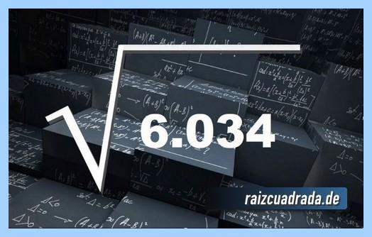 Forma de representar habitualmente la operación matemática raíz cuadrada del número 6034