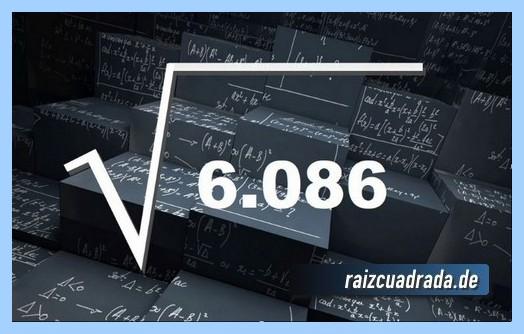 Representación comúnmente la operación matemática raíz del número 6086