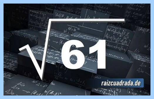 Representación frecuentemente la operación matemática raíz cuadrada de 61