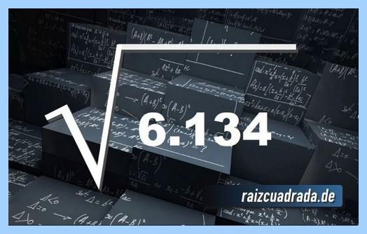 Forma de representar comúnmente la raíz cuadrada del número 6134