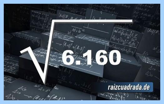 Representación matemáticamente la raíz cuadrada del número 6160