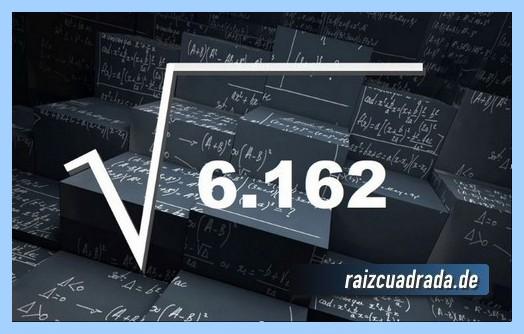 Como se representa matemáticamente la operación raíz del número 6162