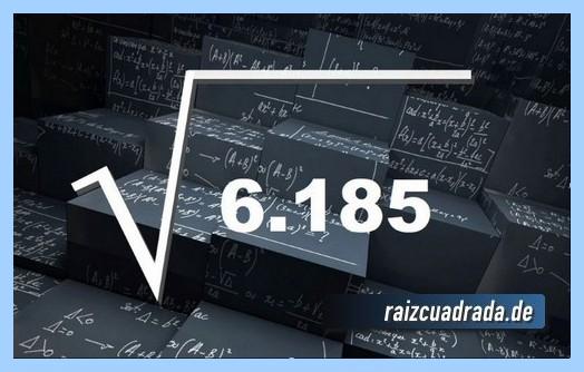Como se representa habitualmente la operación raíz cuadrada del número 6186