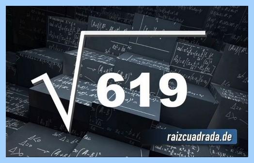 Como se representa matemáticamente la operación matemática raíz cuadrada del número 619