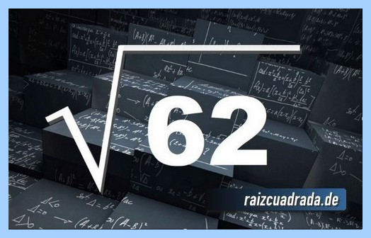 Como se representa conmúnmente la operación raíz cuadrada de 62