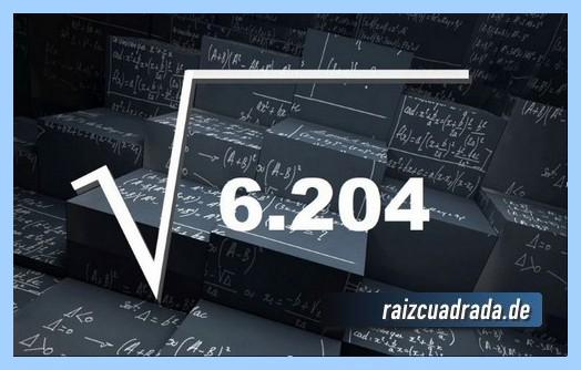 Representación matemáticamente la operación raíz cuadrada del número 6205