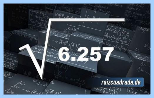 Forma de representar habitualmente la operación matemática raíz cuadrada de 6257