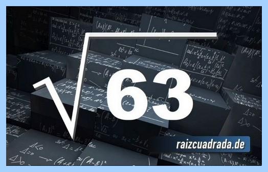 Representación conmúnmente la operación matemática raíz de 63