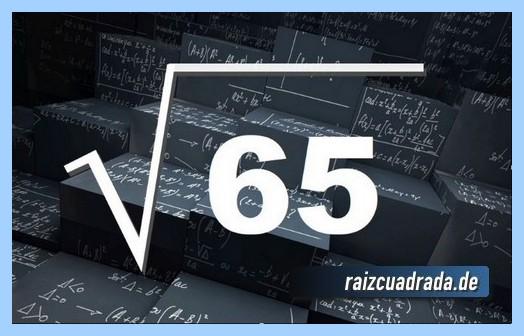 Como se representa habitualmente la operación matemática raíz del número 65