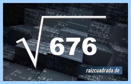 Como se representa habitualmente la raíz cuadrada del número 676