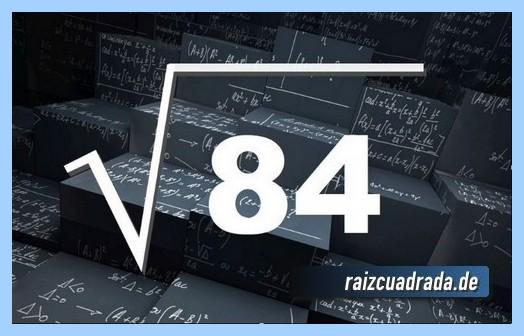 Representación frecuentemente la operación raíz cuadrada de 84