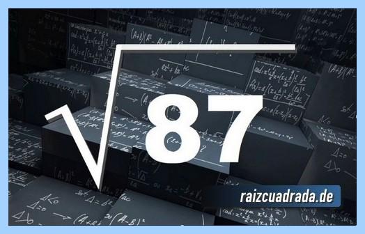 Forma de representar habitualmente la raíz de 87