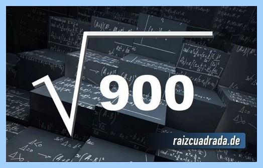 Forma de representar matemáticamente la raíz del número 900