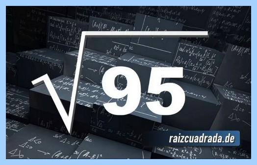 Como se representa frecuentemente la operación matemática raíz cuadrada del número 95