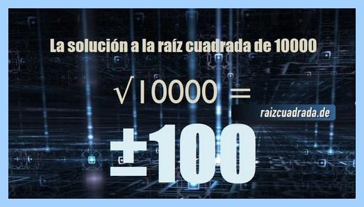 Solución conseguida en la resolución operación raíz cuadrada del número 10000