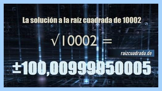 Solución que se obtiene en la raíz cuadrada de 10002