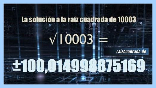 Solución conseguida en la resolución operación raíz cuadrada del número 10003