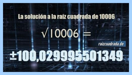 Solución finalmente hallada en la raíz cuadrada del número 10006
