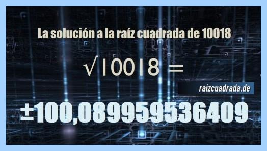 Resultado obtenido en la resolución operación raíz cuadrada del número 10018