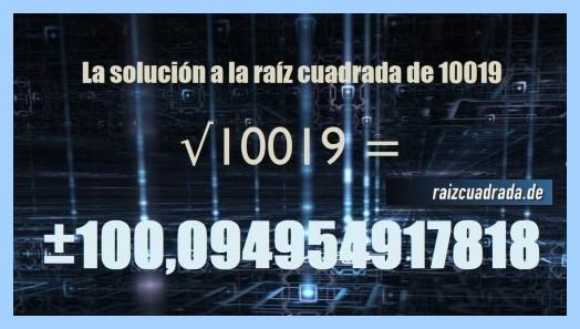 Resultado conseguido en la resolución raíz de 10019