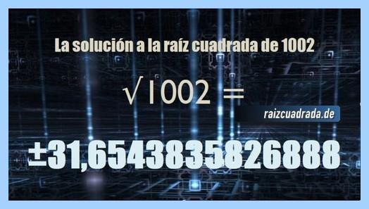 Resultado conseguido en la operación matemática raíz del número 1002