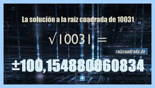 Resultado que se obtiene en la operación matemática raíz cuadrada del número 10031