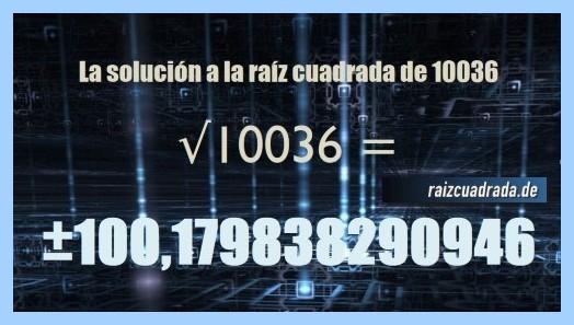 Resultado final de la operación matemática raíz cuadrada de 10036