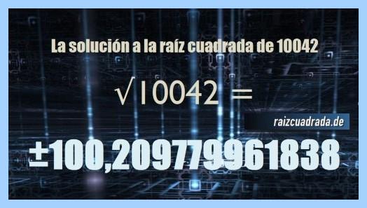 Solución finalmente hallada en la resolución operación matemática raíz cuadrada del número 10042