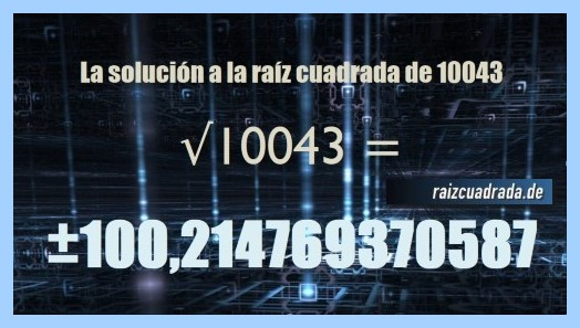 Solución finalmente hallada en la resolución operación matemática raíz cuadrada del número 10043