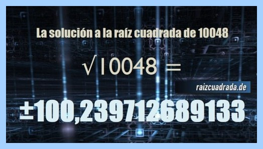 Solución conseguida en la resolución operación matemática raíz cuadrada de 10048
