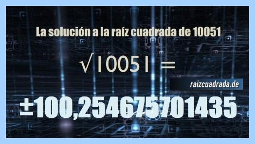 Número obtenido en la resolución raíz del número 10051
