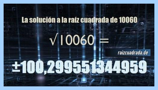 Solución finalmente hallada en la operación matemática raíz del número 10060