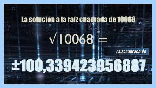 Solución finalmente hallada en la operación raíz del número 10068